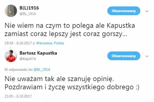 Kapustka z klasą odpowiedział Leśnodorskiemu