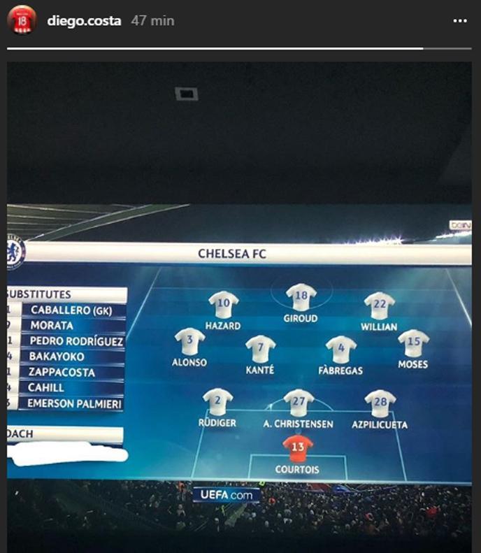 Diego Costa wrzucił skład Chelsea i... zamazał nazwisko Antonio Conte xD