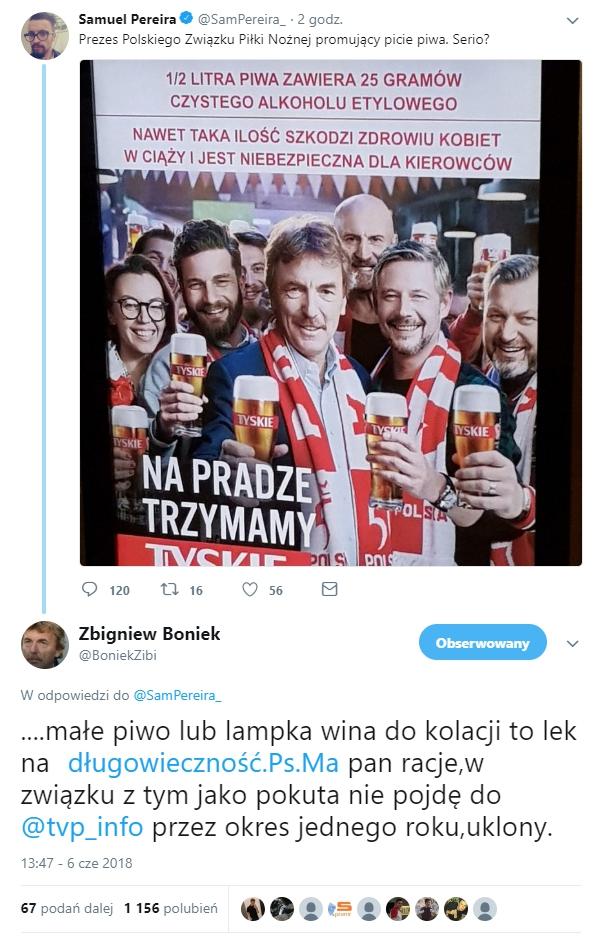 Boniek ostro odpowiedział na zarzut szefa portalu TVP Info