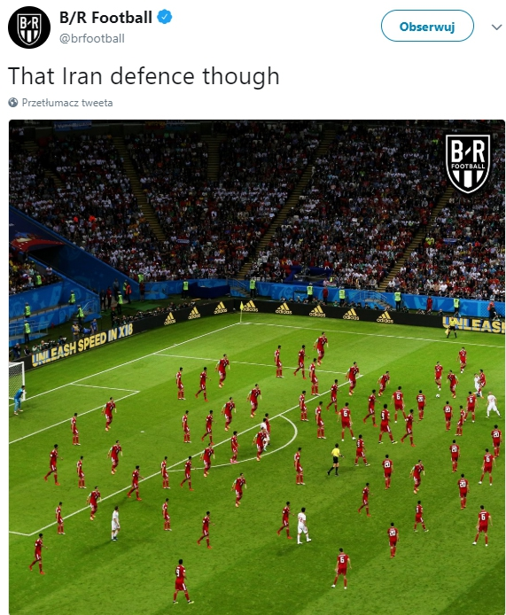 Tak wyglądała obrona Iranu z Hiszpanią... :D