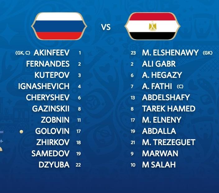 Znamy już SKŁADY na mecz Egipt - Rosja