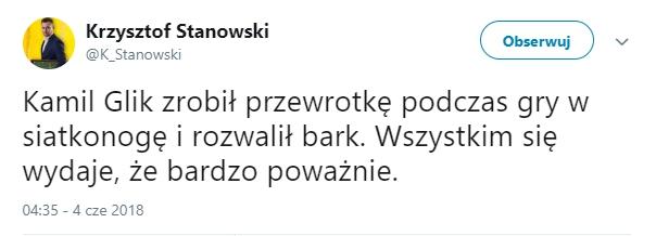 Absurdalne okoliczności urazu Kamila Glika...