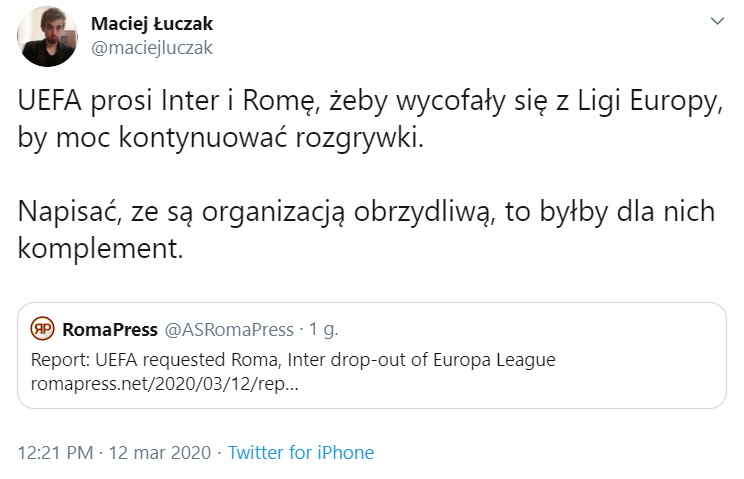 OBRZYDLIWA prośba UEFA do Interu i AS Romy...