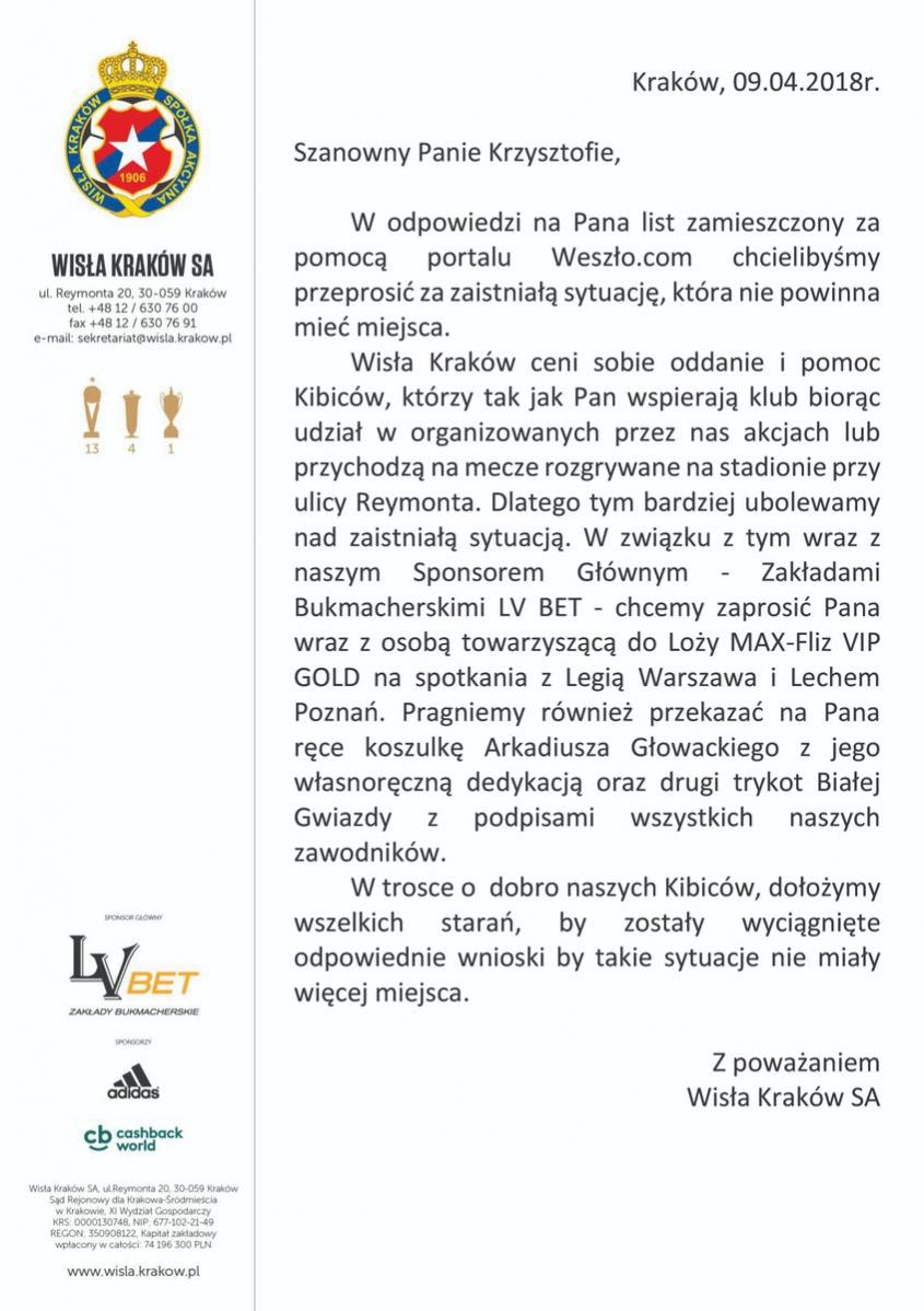 Wspaniały gest Wisły Kraków